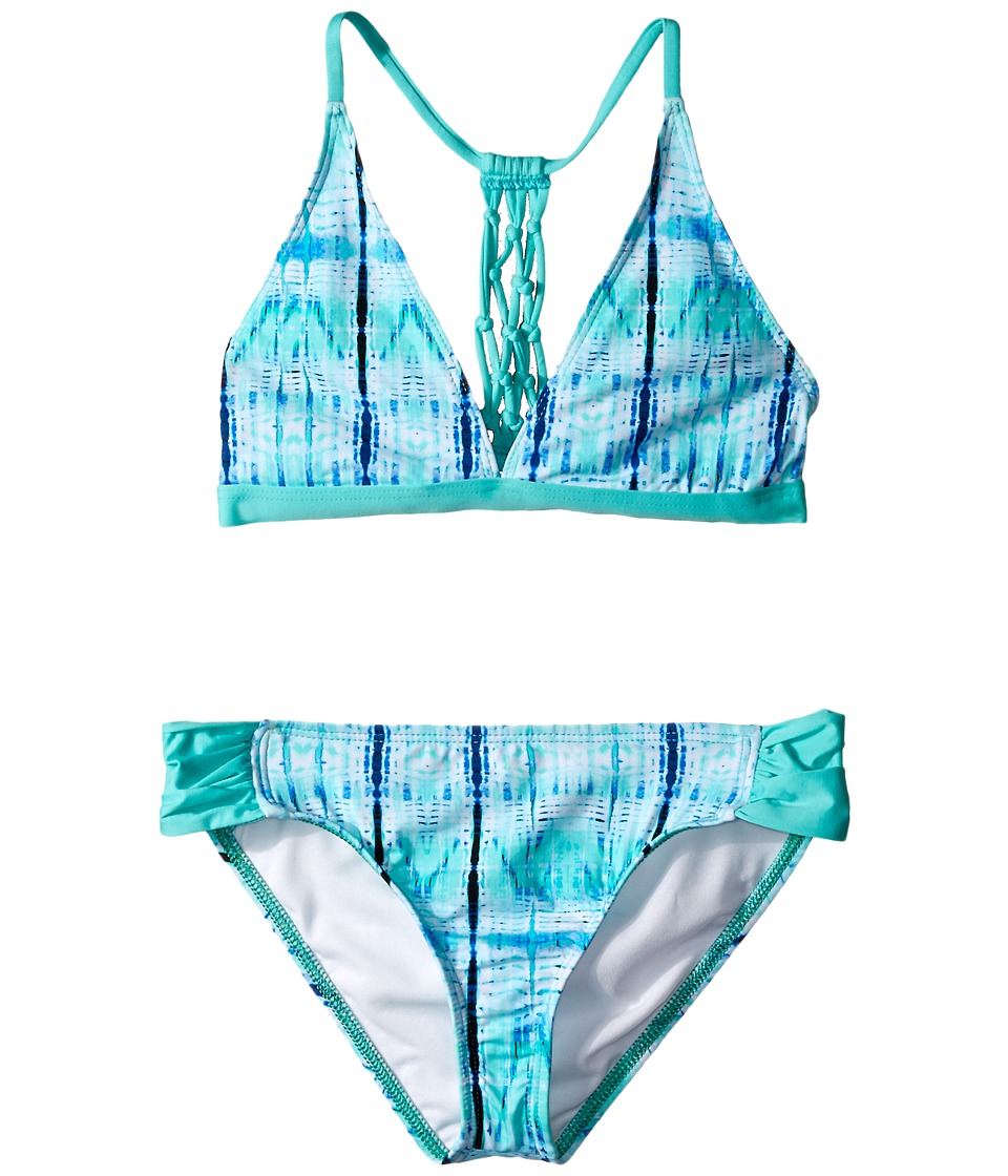 Ella Moss Girl Boho Nuevo Halter Bra Tab Pant Bottom Big Kids Aqua Girls Swimwear Sets