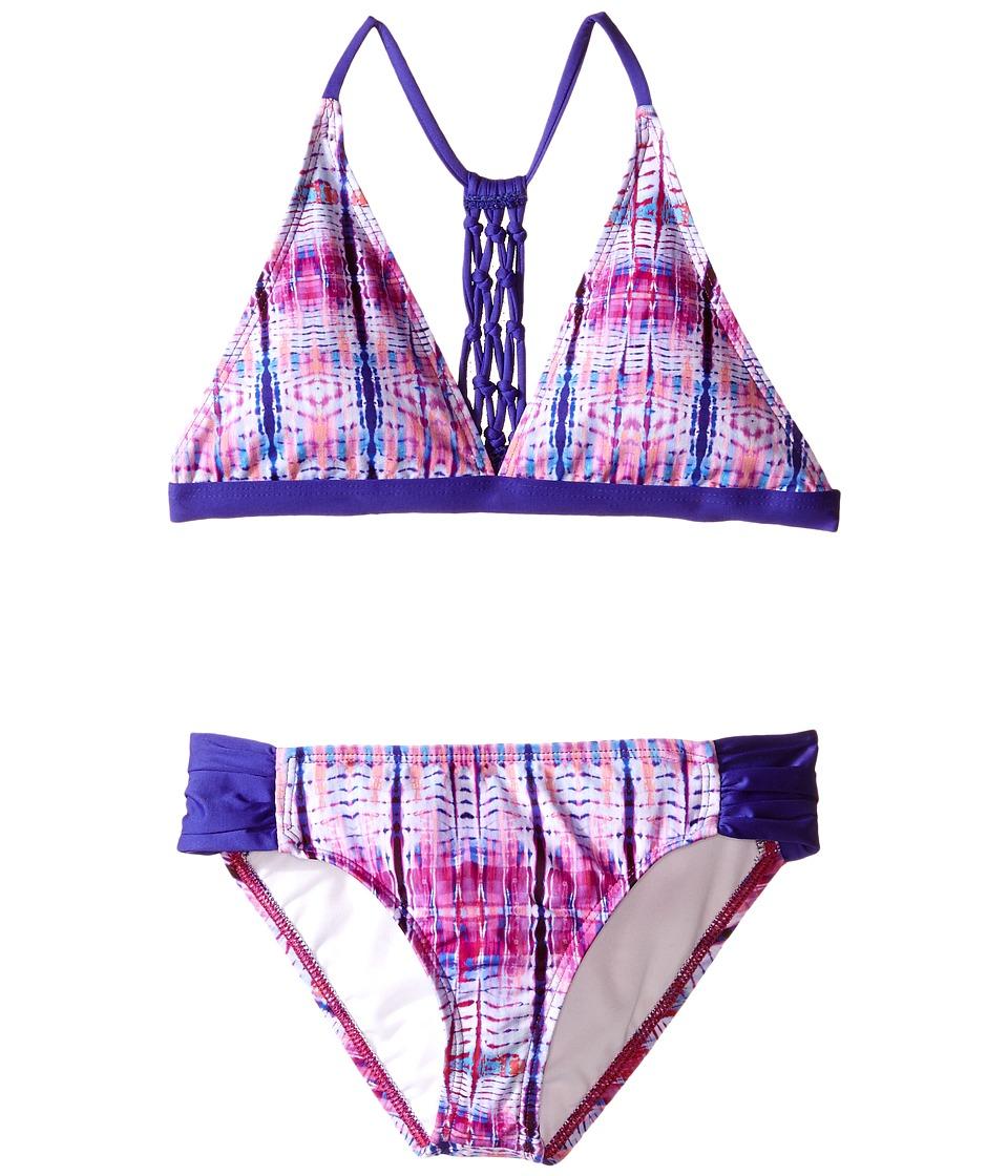 Ella Moss Girl Boho Nuevo Halter Bra Tab Pant Bottom Big Kids Purple Girls Swimwear Sets