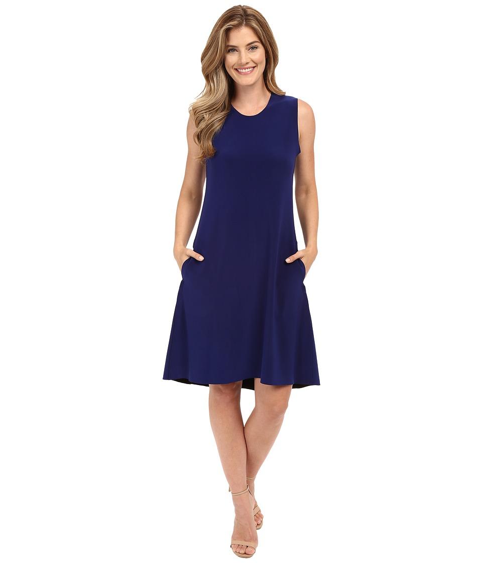 KAMALIKULTURE by Norma Kamali Sleeveless Swing Dress Bonded Blueberry Womens Dress