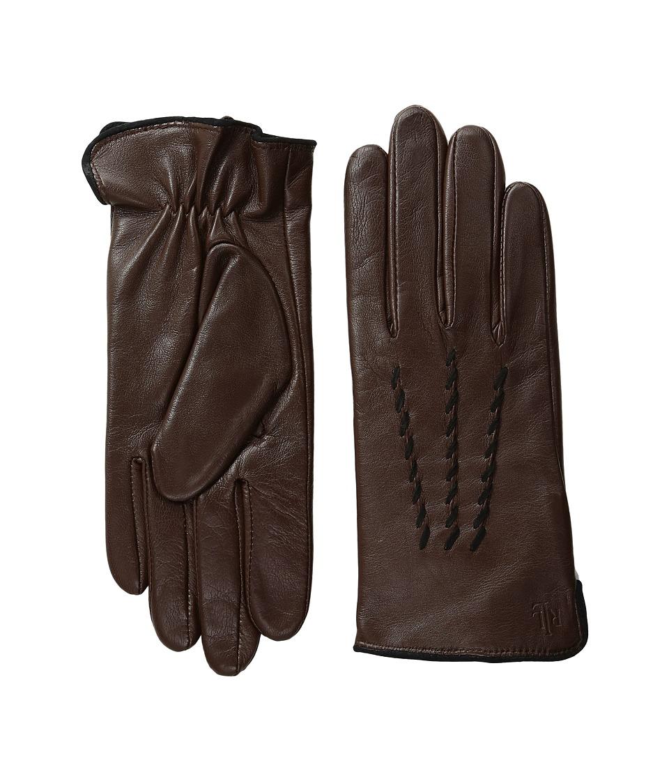 LAUREN Ralph Lauren Whip Stitch Points Thinsulate Gloves (Coffee/Black) Dress Gloves