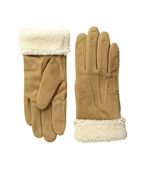 LAUREN Ralph Lauren Suede & Shearling Thinsulate Gloves
