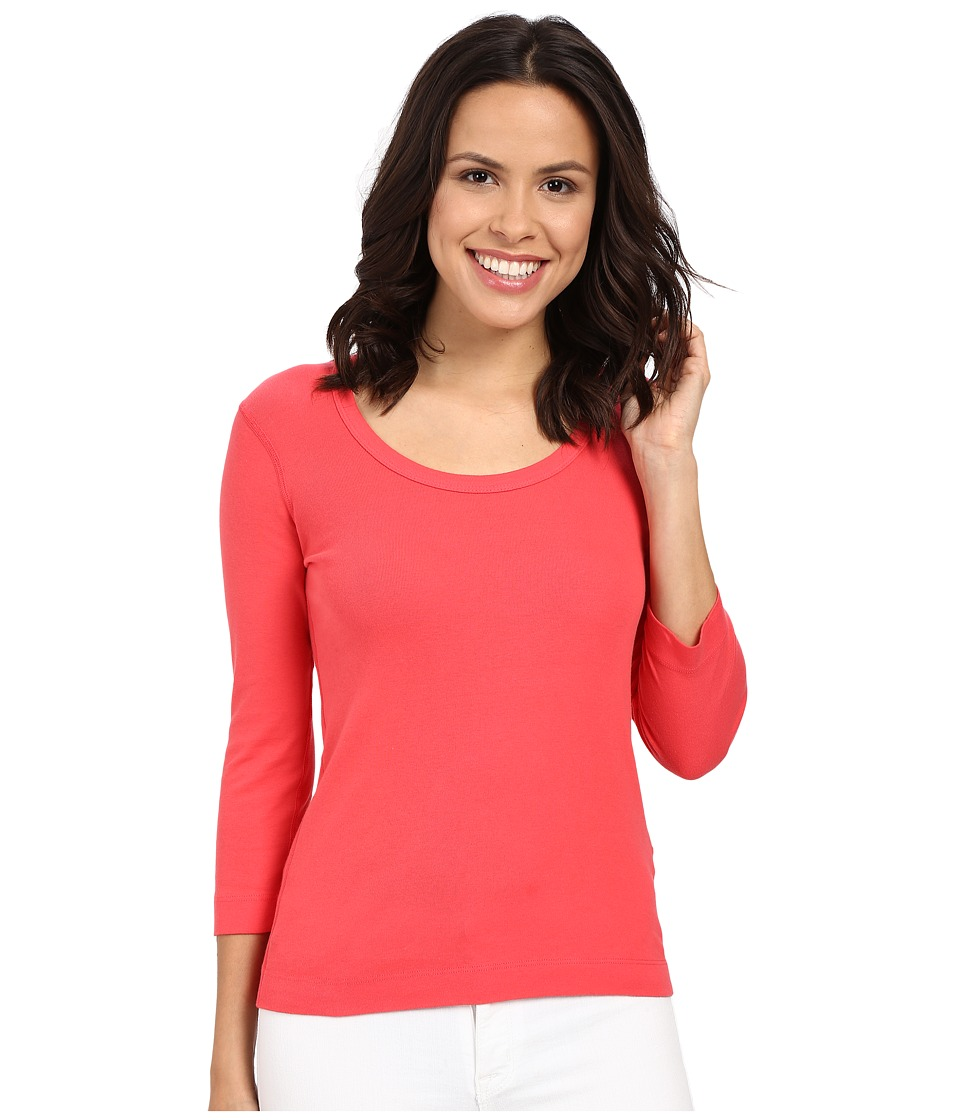 Three Dots - 3/4 Sleeve Scoop Neck (Pink Flash) Women