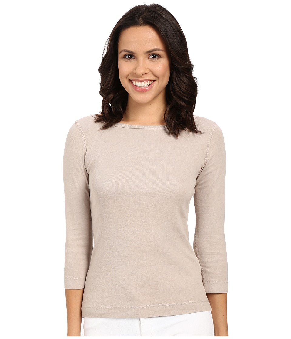 Three Dots - 3/4 Sleeve British Tee (Taupe Sand) Women
