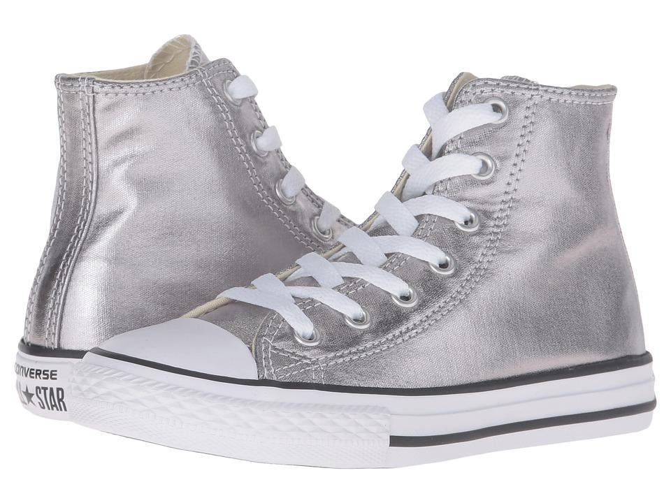 Converse Kids Chuck Taylor All Star Metallic Canvas Hi (Little Kid) (Metallic Gunmetal/White/Black) Girls Shoes