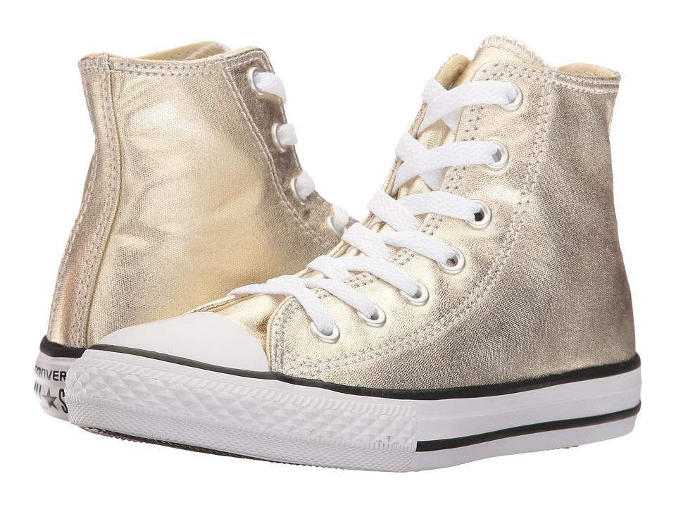 Converse Kids Chuck Taylor All Star Metallic Canvas Hi (Little Kid) (Light Gold/White/Black) Girls Shoes