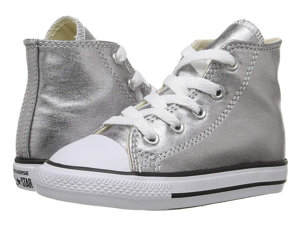 Converse Kids Chuck Taylor All Star Metallic Canvas Hi (Infant/Toddler) (Metallic Gunmetal/White/Black) Girls Shoes