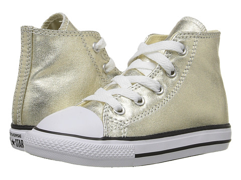 Converse Kids Chuck Taylor® All Star® Metallic Canvas Hi (Infant/Toddler) - Light Gold/White/Black