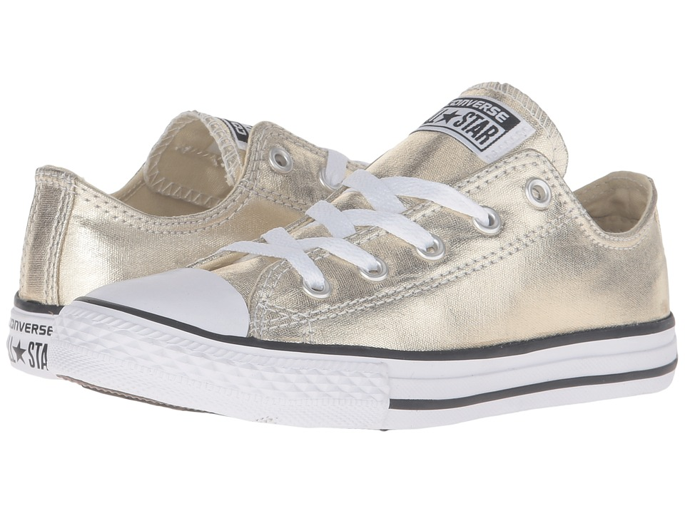 Converse Kids Chuck Taylor All Star Metallic Canvas Ox (Little Kid) (Light Gold/White/Black) Girls Shoes