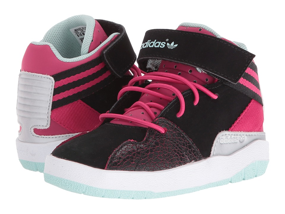 Image of adidas Originals Kids - Crestwood Mid (Toddler) (Black/Bold Pink/Ice Green) Girls Shoes