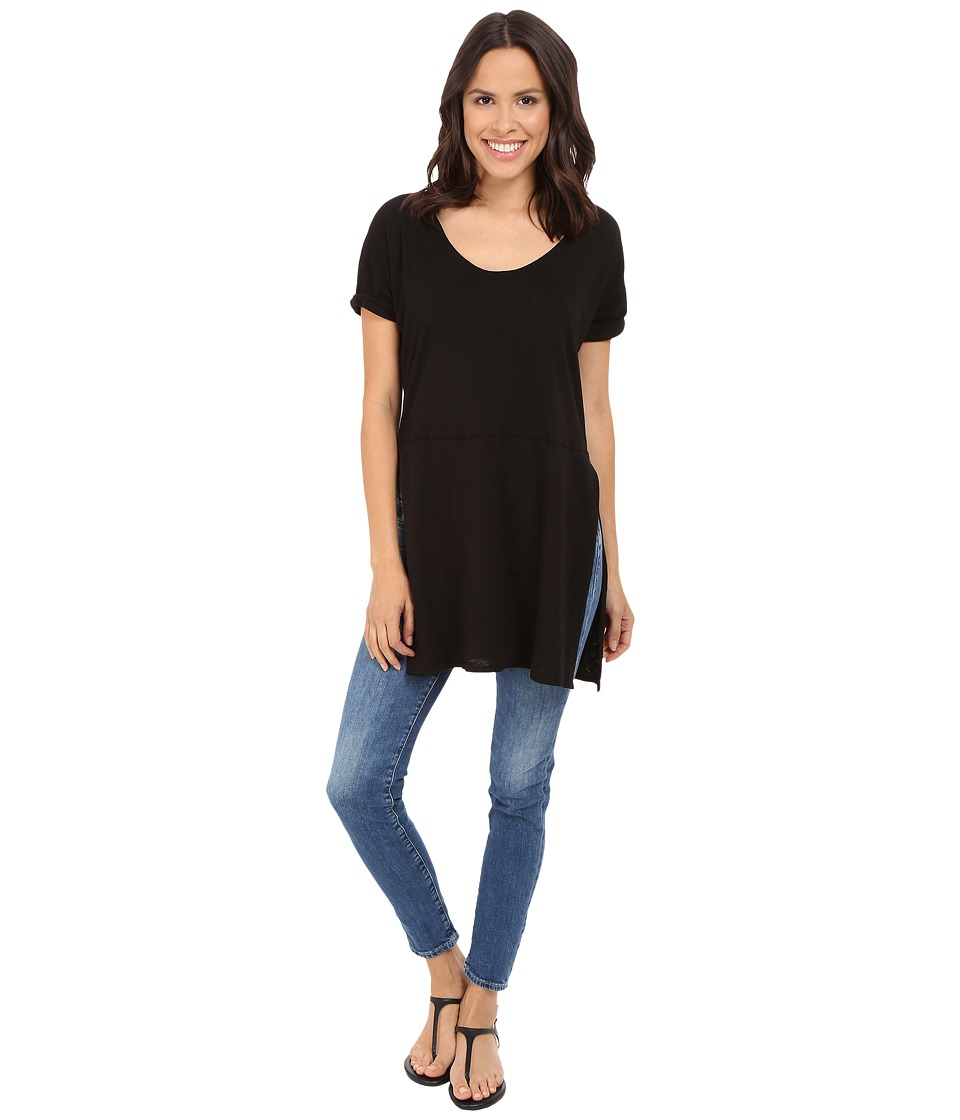 Three Dots - Laverne Side Slit Tunic (Black) Women