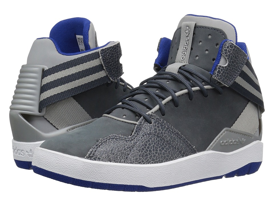 Image of adidas Originals Kids - Crestwood Mid (Big Kid) (MGH Solid Grey/Utility Blue/White) Boys Shoes
