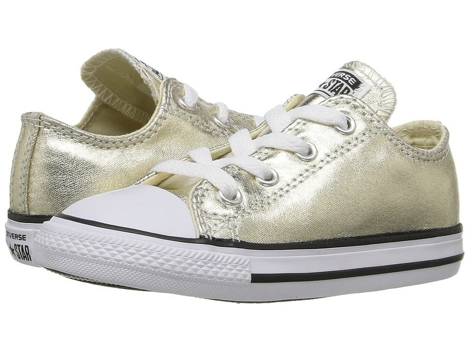 Converse Kids Chuck Taylor All Star Metallic Canvas Ox (Infant/Toddler) (Light Gold Metallic/White/Black) Girls Shoes