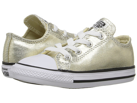 Converse Kids Chuck Taylor® All Star® Metallic Canvas Ox (Infant/Toddler) - Light Gold Metallic/White/Black