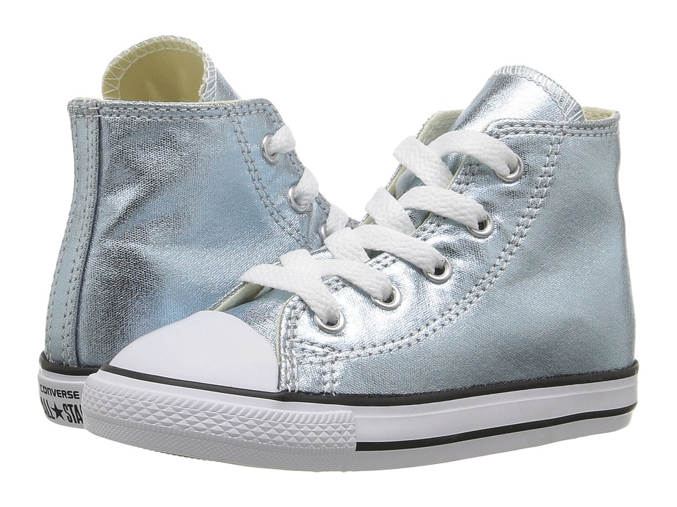 Converse Kids Chuck Taylor All Star Metallic Canvas Hi (Infant/Toddler) (Metallic Glacier/White/Black) Girls Shoes