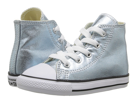 Converse Kids Chuck Taylor® All Star® Metallic Canvas Hi (Infant/Toddler) - Metallic Glacier/White/Black
