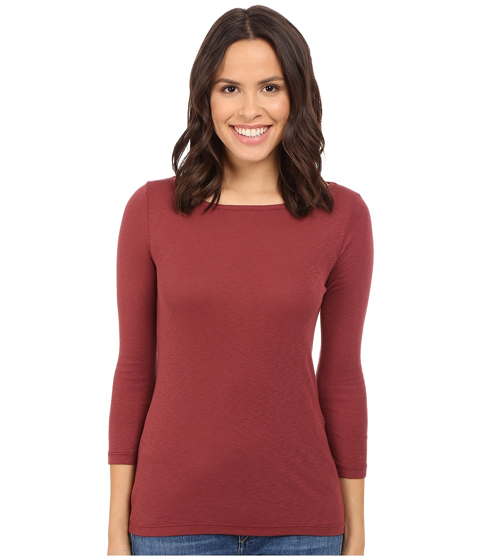 Three Dots - Hannah 3/4 Sleeve British Tee (Black Cherry) Women