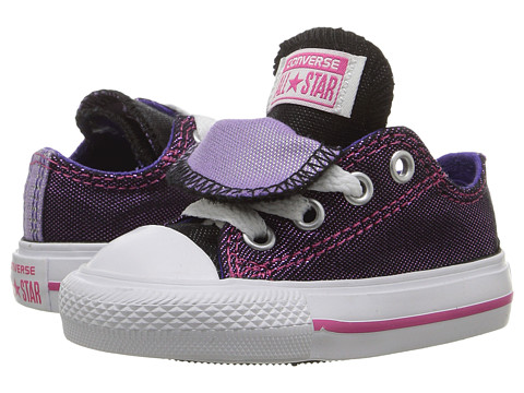 Converse Kids Chuck Taylor® All Star® Double Tongue Ox (Infant/Toddler) - Vivid Pink/Candy Grape/White