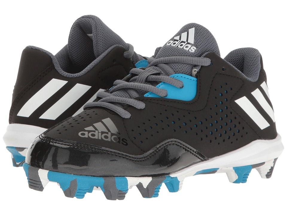 adidas Kids Wheelhouse 4 Baseball (Toddler/Little Kid/Big Kid) (Black/White/Solar Blue) Boys Shoes