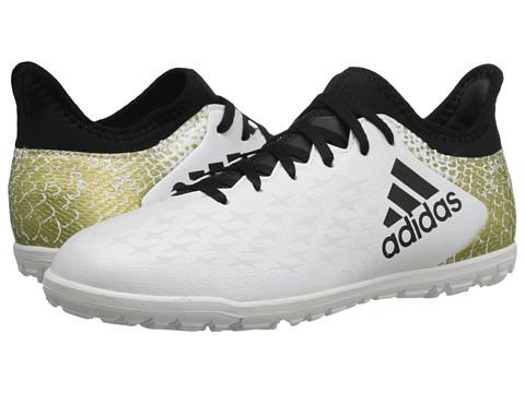 adidas Kids X 16.3 TF Soccer (Little Kid/Big Kid) - White/Black/Gold Metallic