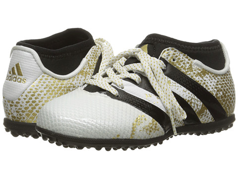 adidas Kids Ace 16.3 Primemesh TF J Soccer (Little Kid/Big Kid) - White/Black/Gold Metallic