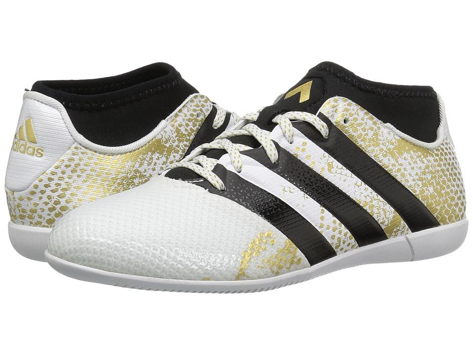 Image of adidas Kids - Ace 16.3 Primemesh IN Soccer (Little Kid/Big Kid) (White/Black/Gold Metallic) Kids Shoes