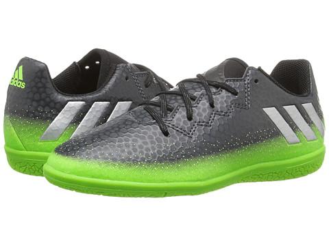 adidas Kids Messi 16.3 IN Soccer (Little Kid/Big Kid) - Dark Grey/Silver Metallic/Solar Green