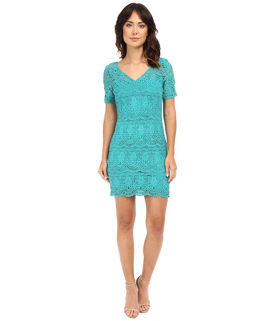 Brigitte Bailey Lakshmi Lace Sheath Dress Teal Womens Dress
