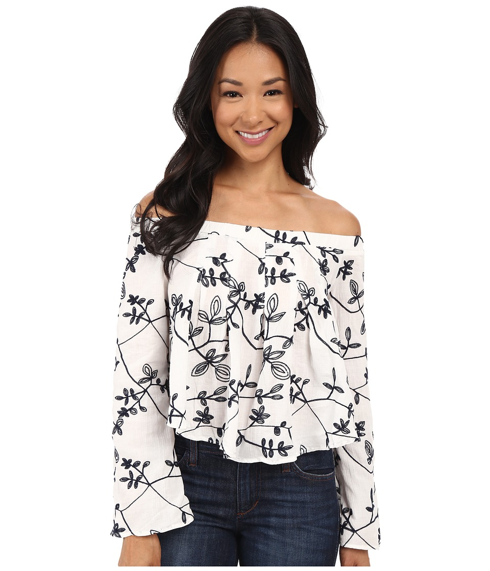Brigitte Bailey Coco Off Shoulder Embroidered Top Off White/Navy Womens Clothing