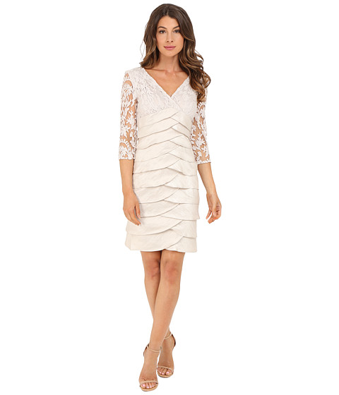 Adrianna Papell Shimmer Shutter Tuck Lace Dress