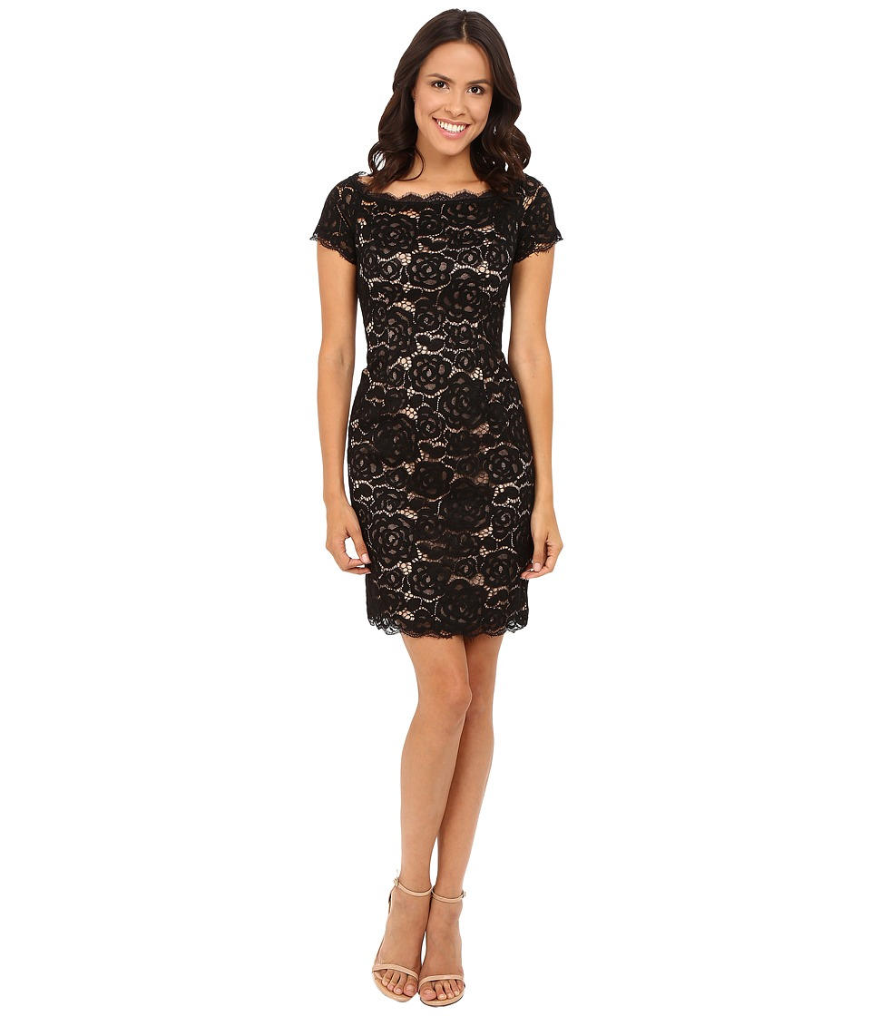 Adrianna Papell - Off the Shoulder Lace Sheath Dress with Contrast Lining