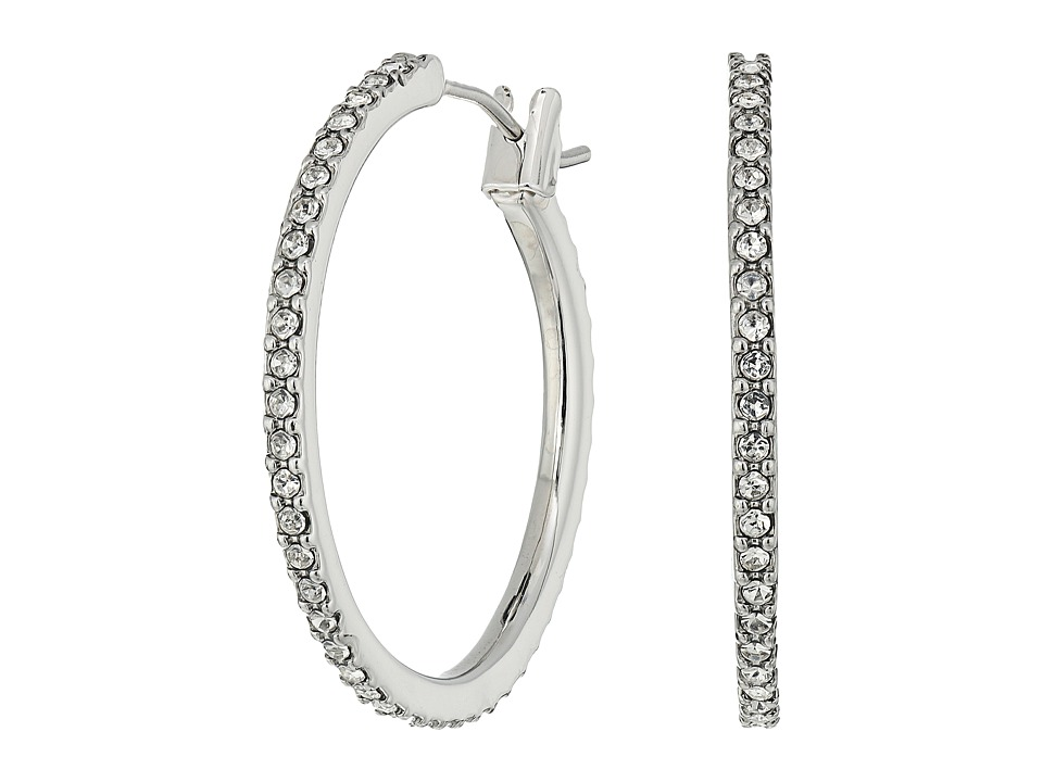 LAUREN Ralph Lauren - Social Set Medium Pave Hoop Earrings (Crystal/Silver) Earring