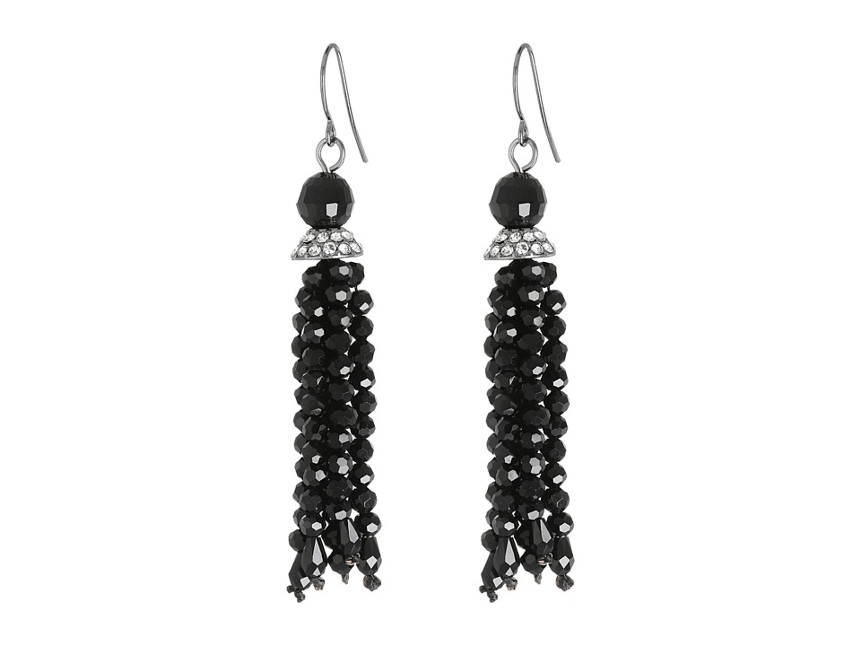 LAUREN Ralph Lauren - Hide and Chic Faceted Jet Tassel Earrings (Jet/Crystal/Hematite) Earring