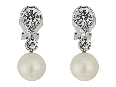 LAUREN Ralph Lauren Social Set Pearl Crystal Double Drop Clip Earrings - White Pearl/Crystal/Silver