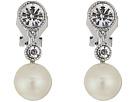 LAUREN Ralph Lauren Social Set Pearl Crystal Double Drop Clip Earrings
