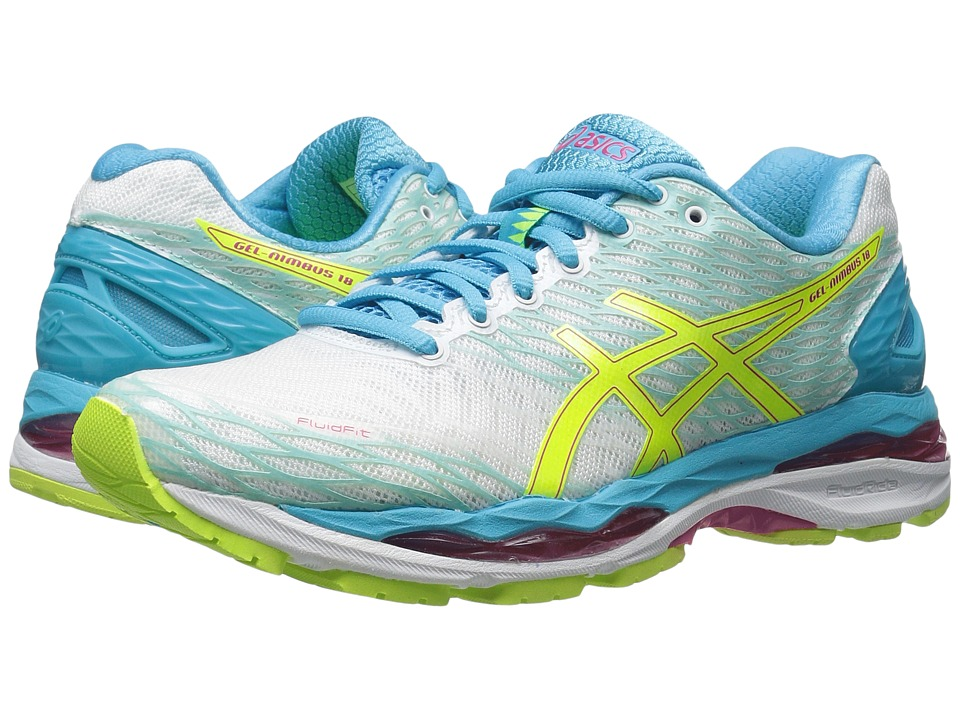 ASICS Gel-Nimbus 18 (White/Safety Yellow/Aquarium) Women