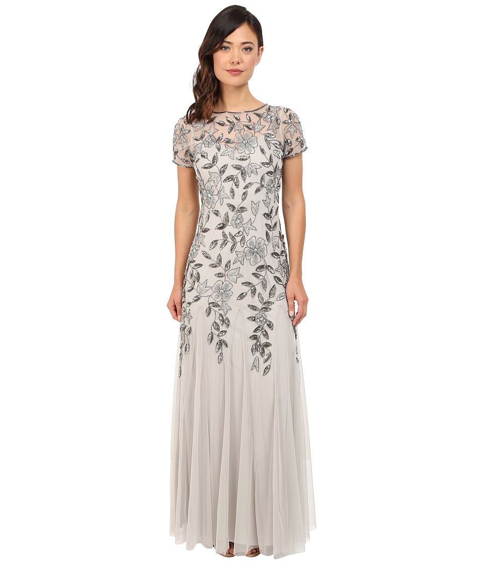 Adrianna Papell Floral Beaded Godet Gown Silver Womens Dress