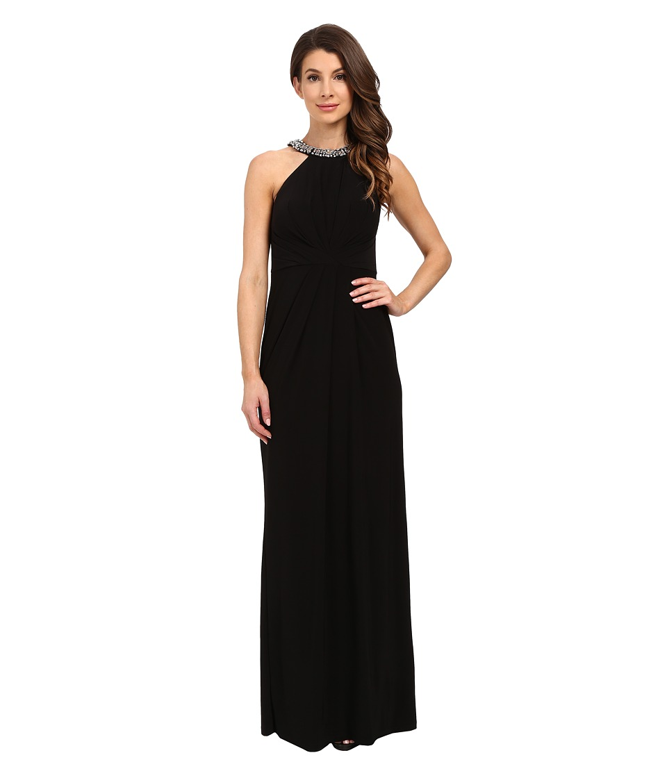 Adrianna Papell Jersey Halter Gown w/ Necklace Black Womens Dress