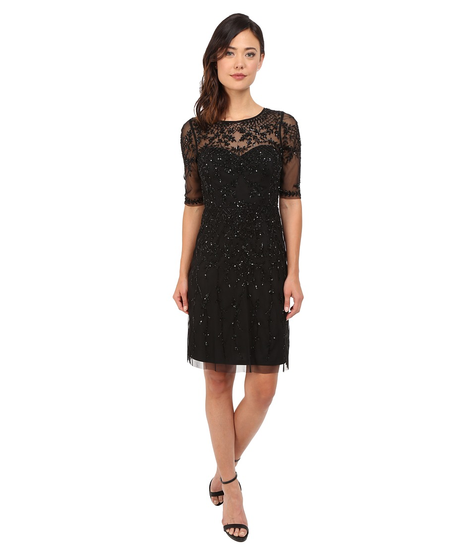 Adrianna Papell 3/4 Sleeve Fully Beaded Cocktail Dress Black Womens Dress