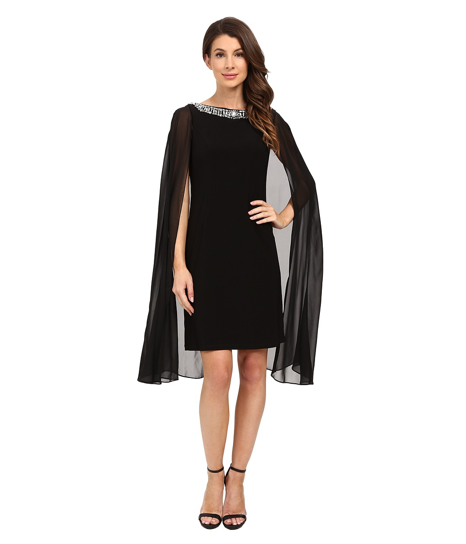 Adrianna Papell Jersey Beaded Cape Dress Black Womens Dress