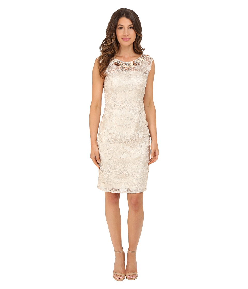 Adrianna Papell Cap Sleeve Sheath Dress with Beads Champagne Womens Dress