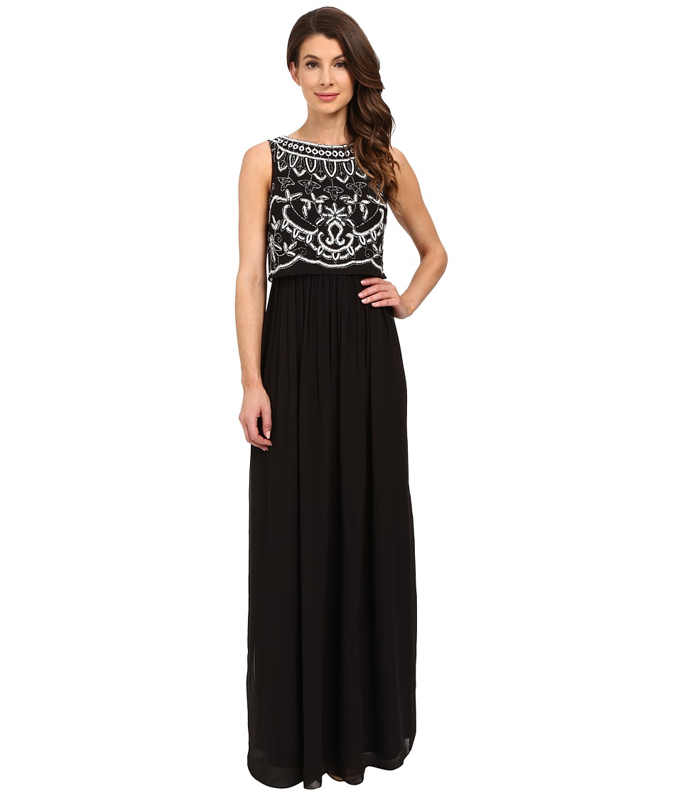 Adrianna Papell Beaded Bodice Gown Black/Ivory Womens Dress