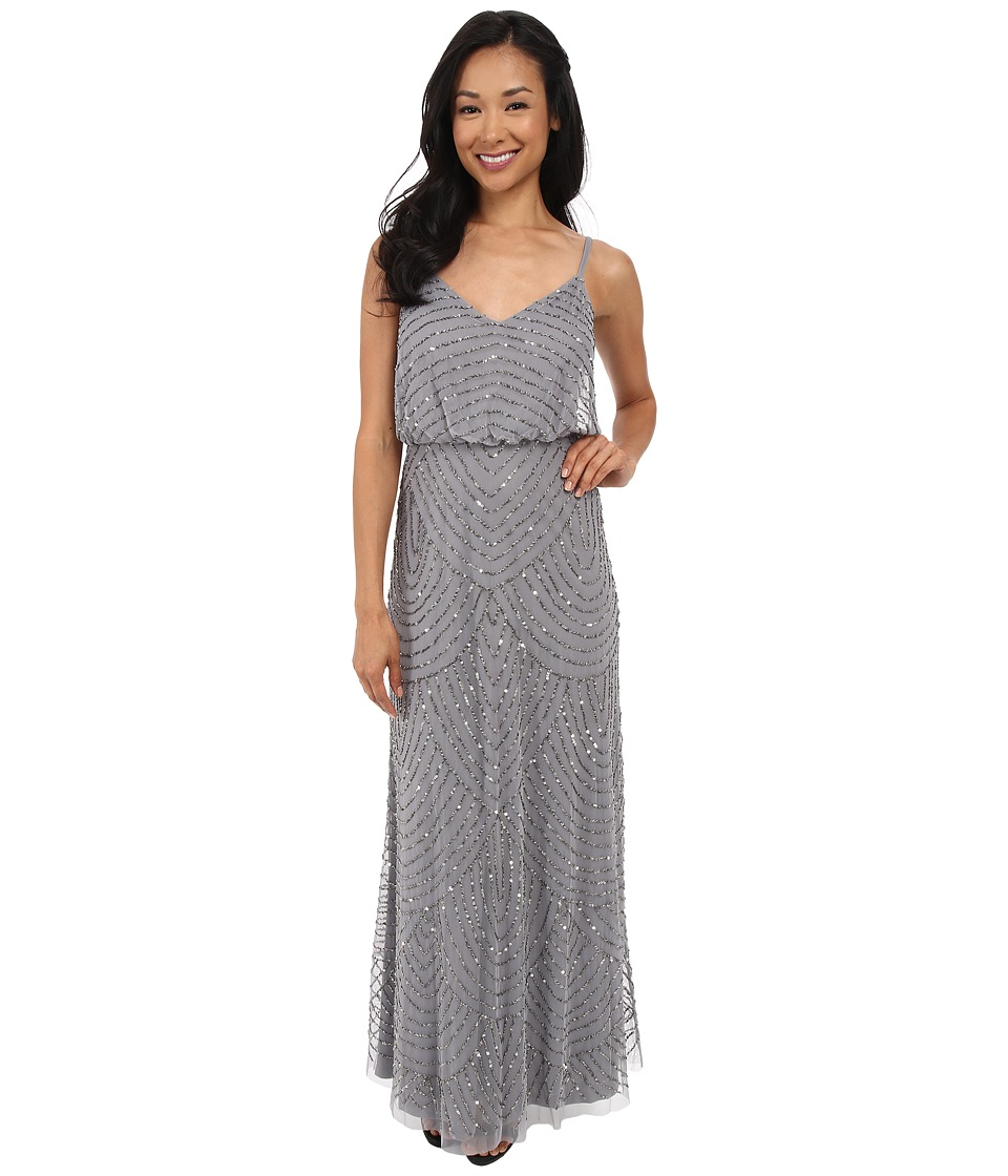 Adrianna Papell - Long Deco Bead Blouson (Silver Grey) Womens Dress