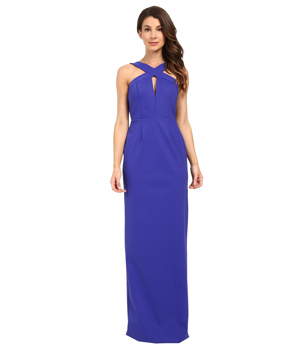 Adrianna Papell Cross Front Column Dress Blue Womens Dress