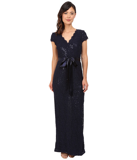 Adrianna Papell Lace and Sequin Long Dress