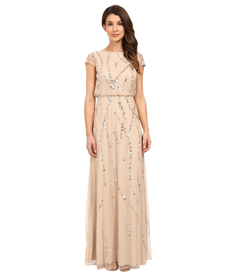 Adrianna Papell Cap Sleeve Blouson Beaded Gown Champagne Womens Dress