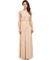 Adrianna Papell - Cap Sleeve Blouson Beaded Gown