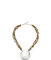 Robert Lee Morris - Beaded Silver Circle Pendant Necklace