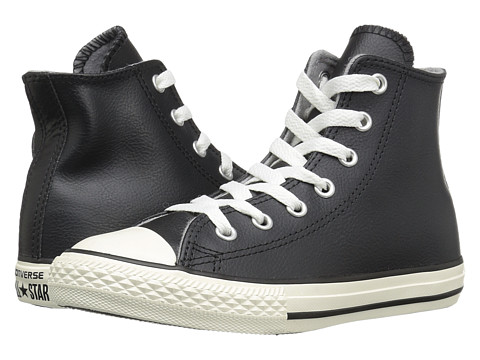 Converse Kids Chuck Taylor® All Star® Leather Hi (Little Kid) - Black/Egret/Egret