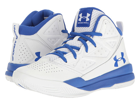 Under Armour Kids UA BGS Jet Mid (Big Kid) - White/Team Royal/Team Royal