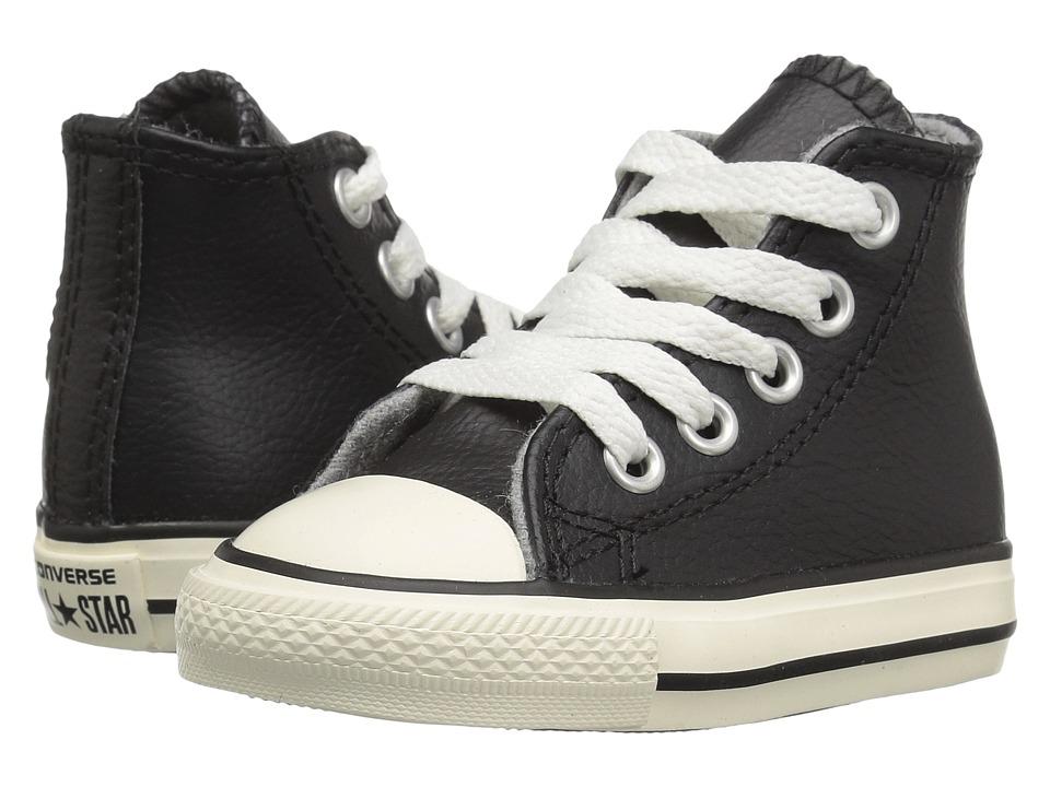 Converse Kids - Chuck Taylor All Star Leather Hi (Infant/Toddler) (Black/Egret/Egret) Boys Shoes